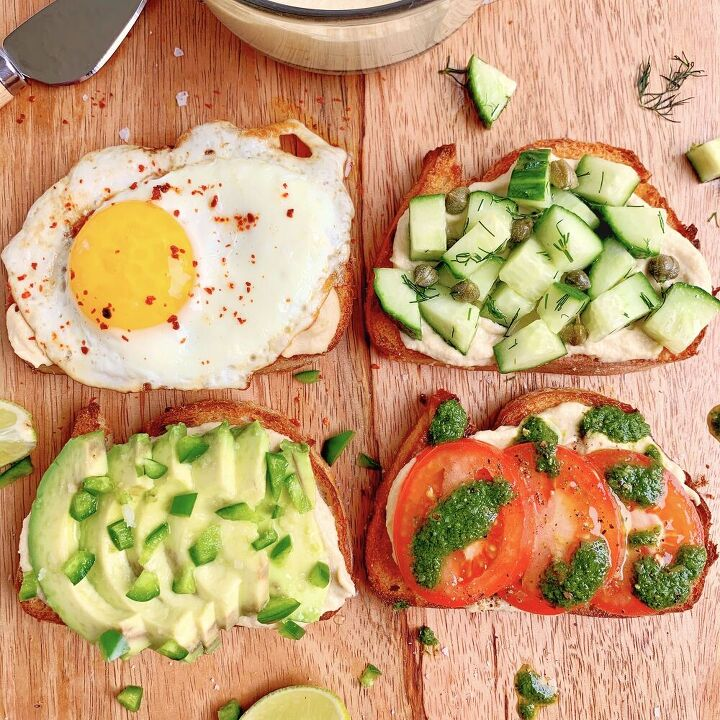 hummus toast 4 ways