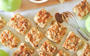 Apple Streusel Cheesecake Bars With Salted Caramel Drizzle