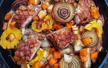 Succulent Roast Pork Belly With Milk Braised Winter Vegetables
