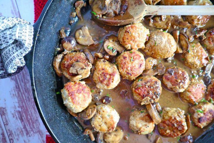 skillet mushroom gravy meatballs