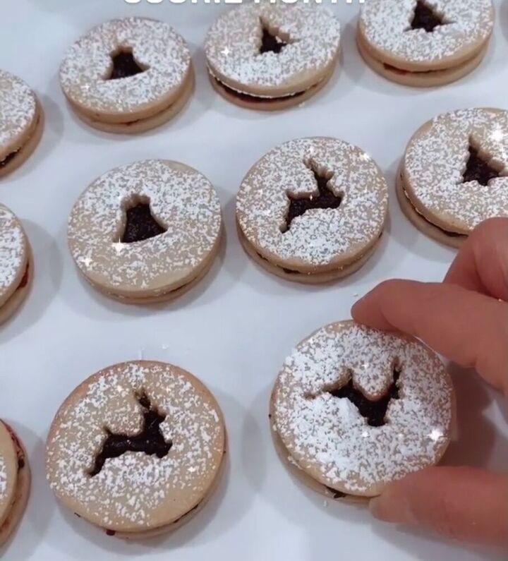 christmas linzer cookies with dark cherry cardamom jam