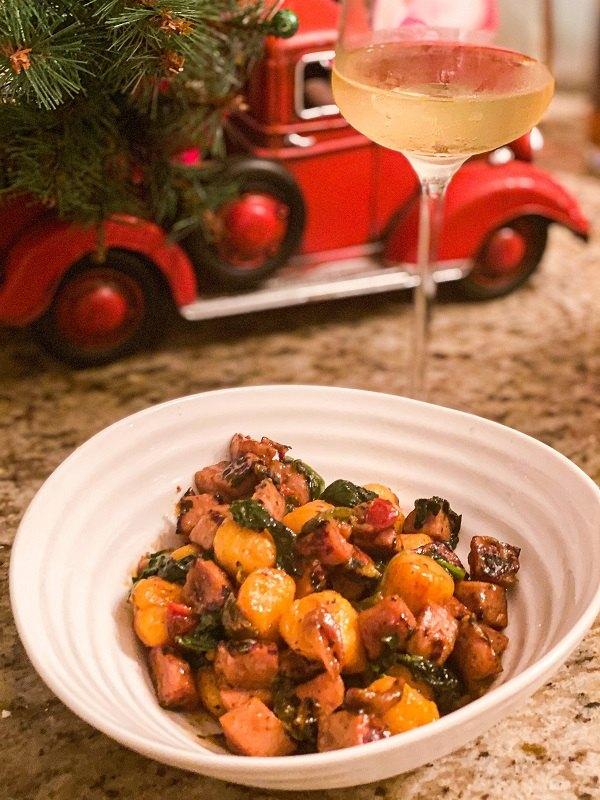 sweet potato gnocchi with chicken sausage