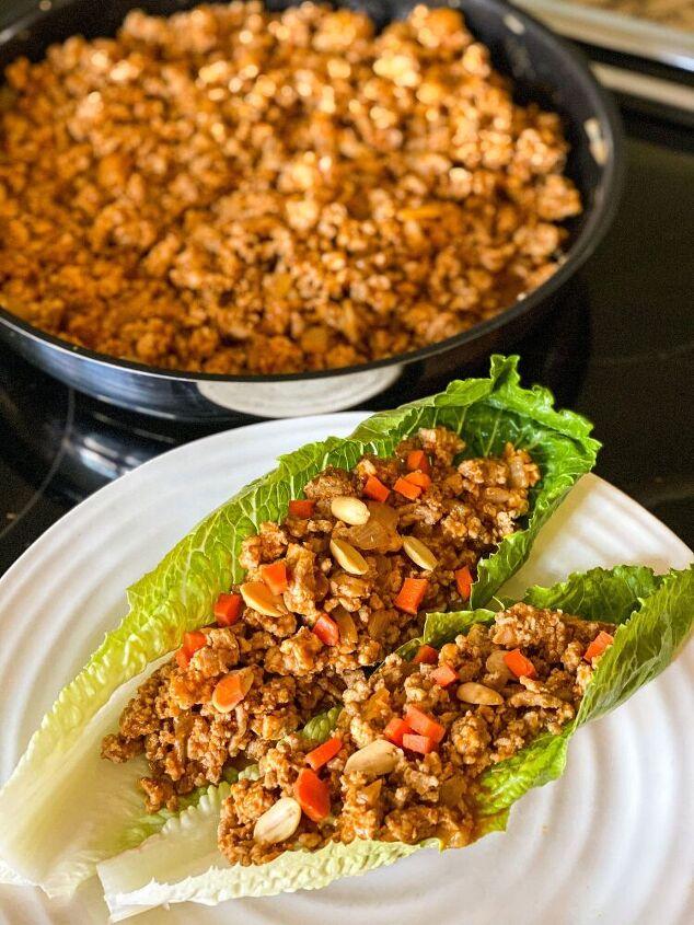 peanut thai turkey lettuce wraps