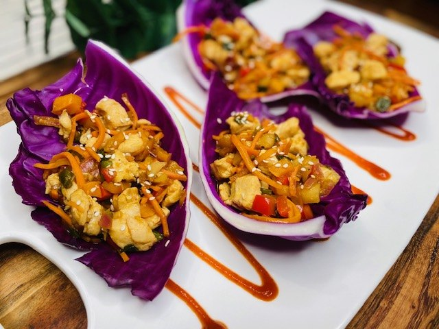 s 15 keto recipes to help you eat better in 2021, Crunchy Asian Chicken Cabbage Wrap
