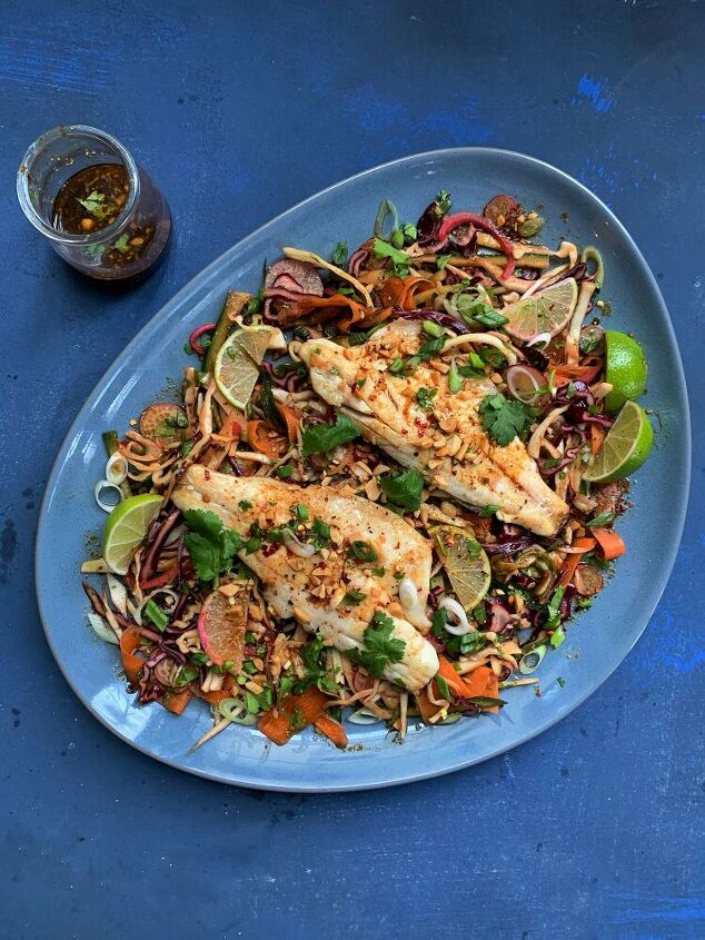 thai sea bass with a peanut and sesame salad