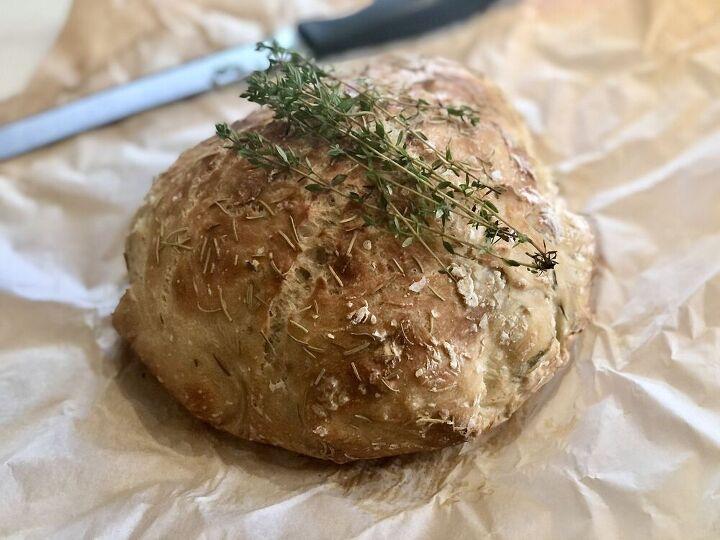 rosemary honey no knead dutch oven bread