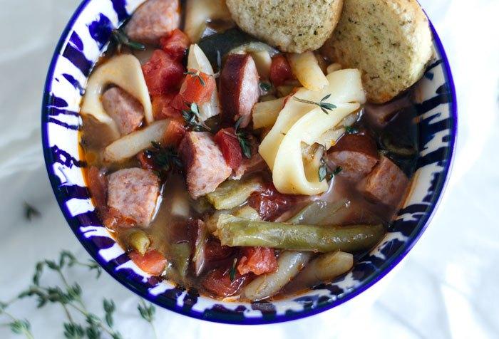 simple kielbasa vegetable soup 5 ingredients 5 minutes