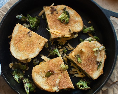 broccoli leek and cheddar grilled cheese