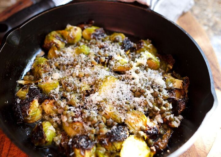 charred lemon caper brussels sprouts
