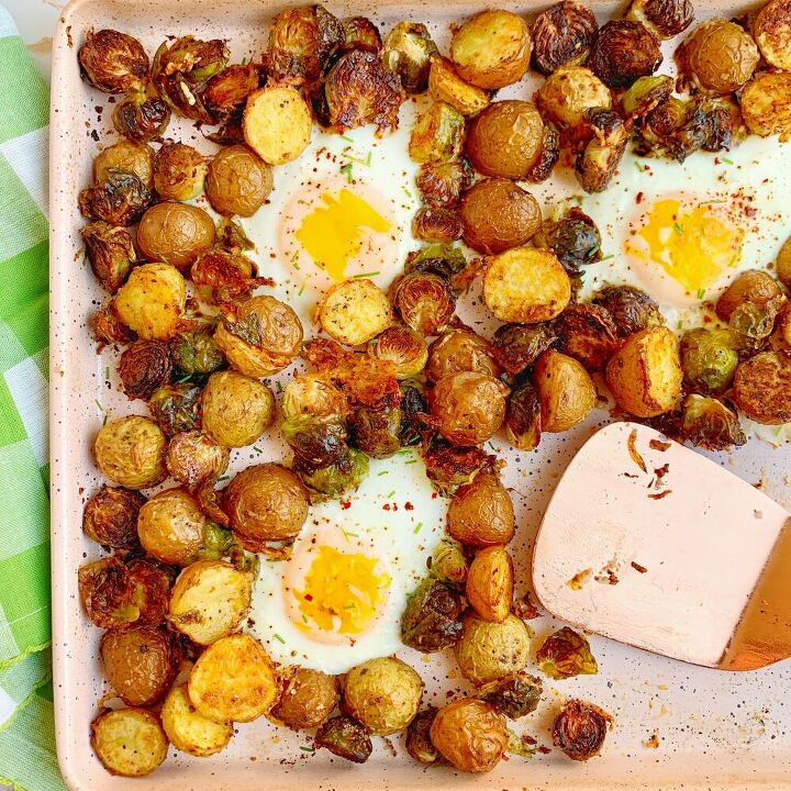 sheet pan brussels potatoes and eggs