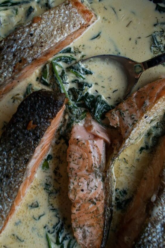 crispy skin pan fried salmon in creamy spinach sauce
