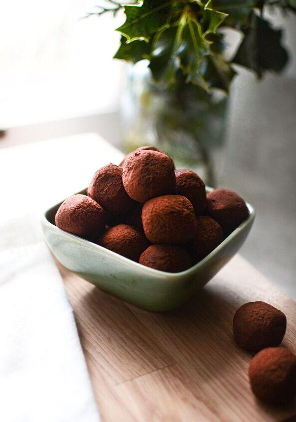 boozy dark chocolate truffles