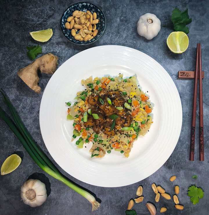 sticky garlic and soy tofu with egg fried rice