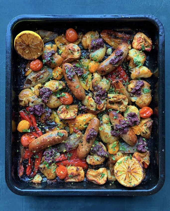 italian sausage sheet pan with olive and lemon tapenade