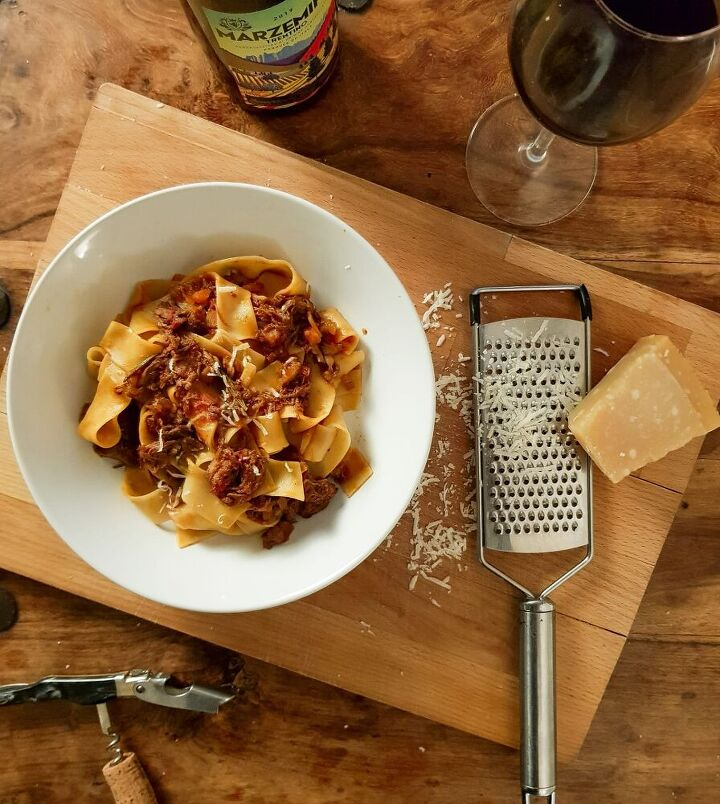 slow cooked ox cheef ragu with papparadelle