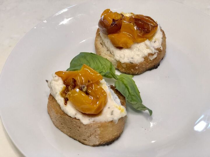whipped ricotta with caramelized tomatoes and truffle oil