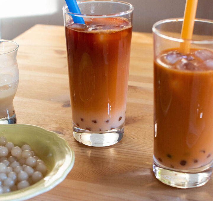 thai iced tea with sweetened condensed milk boba