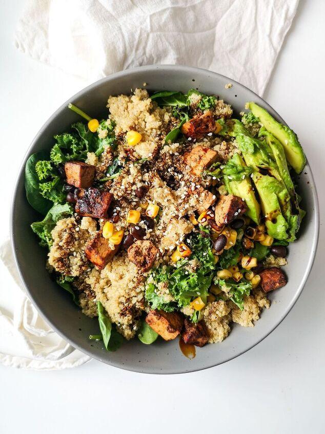 tofu and corn quinoa salad