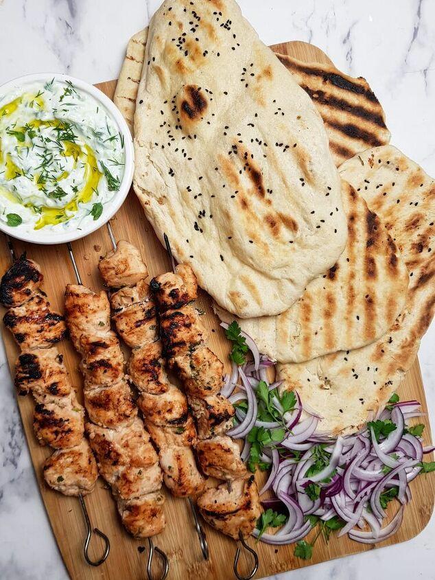 chicken shish kebab with homemade flatbread
