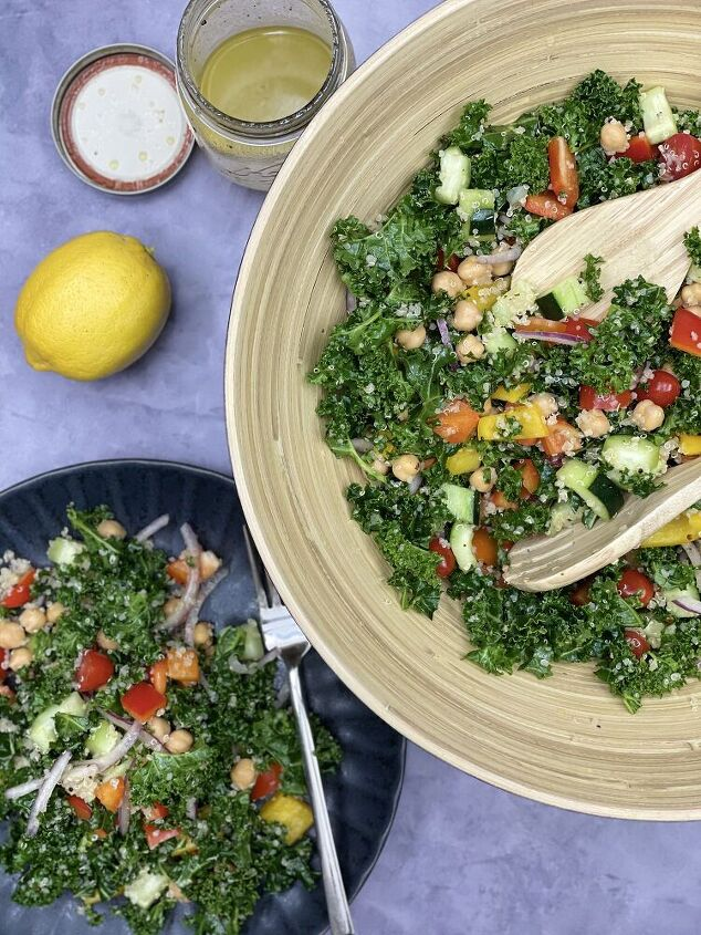 protein packed kale salad with lemon vinaigrette