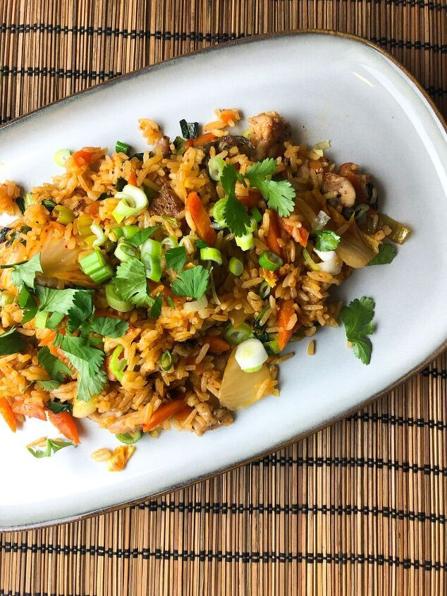 kimchi and chicken fried rice