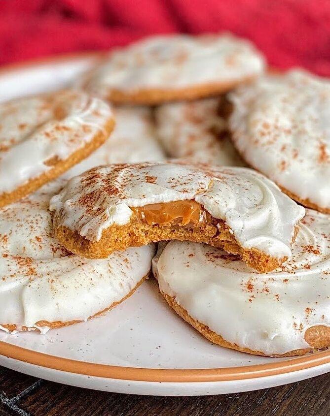 caramel filled white chocolate pumpkin cookies