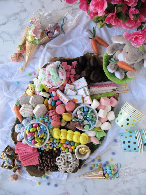 how to make an easter candy dessert board
