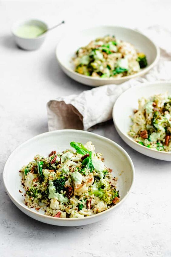 quinoa broccoli and cauliflower salad with crunchy pecans and creamy tahini dressing