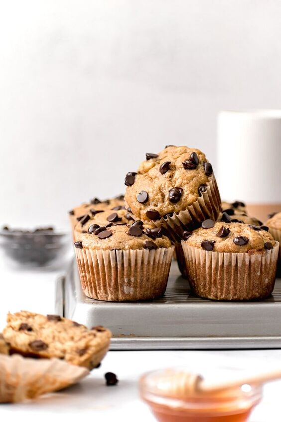 banana tahini chocolate chip muffins