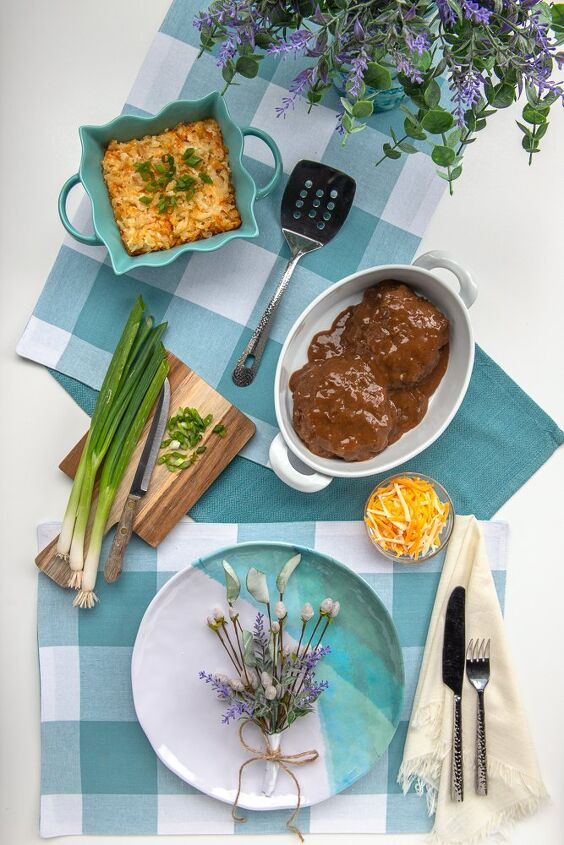 hash brown casserole and salisbury steak