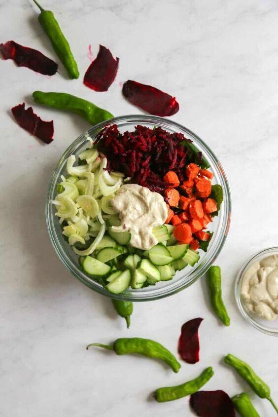 kale salad with apple tahini dressing vegan gf