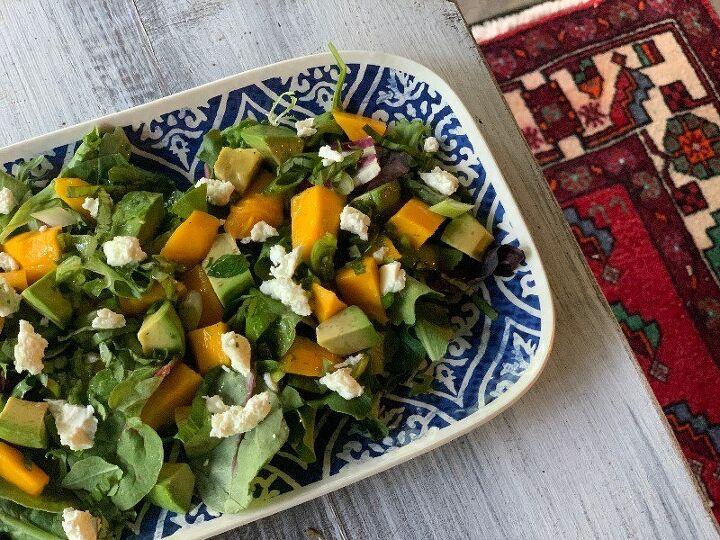 mango avocado and feta salad with jalapeno lime dressing