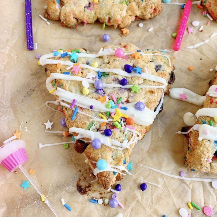triple chip birthday scones