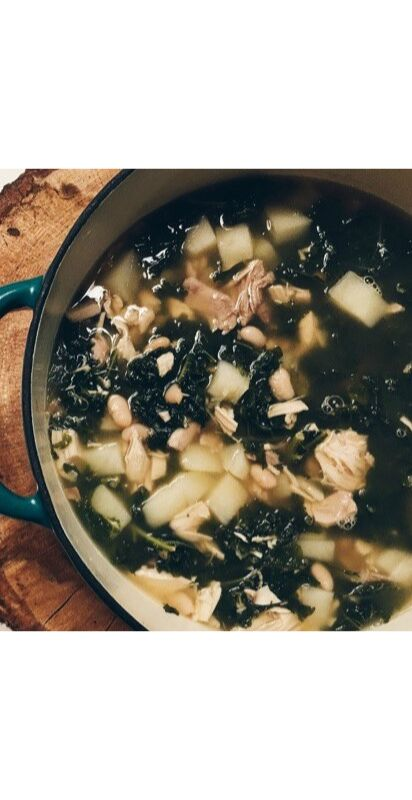 easy chicken kale and potato soup
