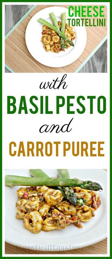 cheese tortellini with basil pesto and carrot puree sauce recipe