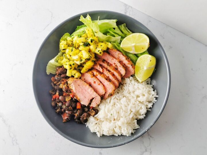 cuban mojo pork tenderloin with black beans and pineapple salsa