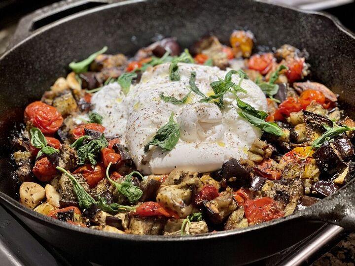 skillet eggplant with roasted tomato and burrata
