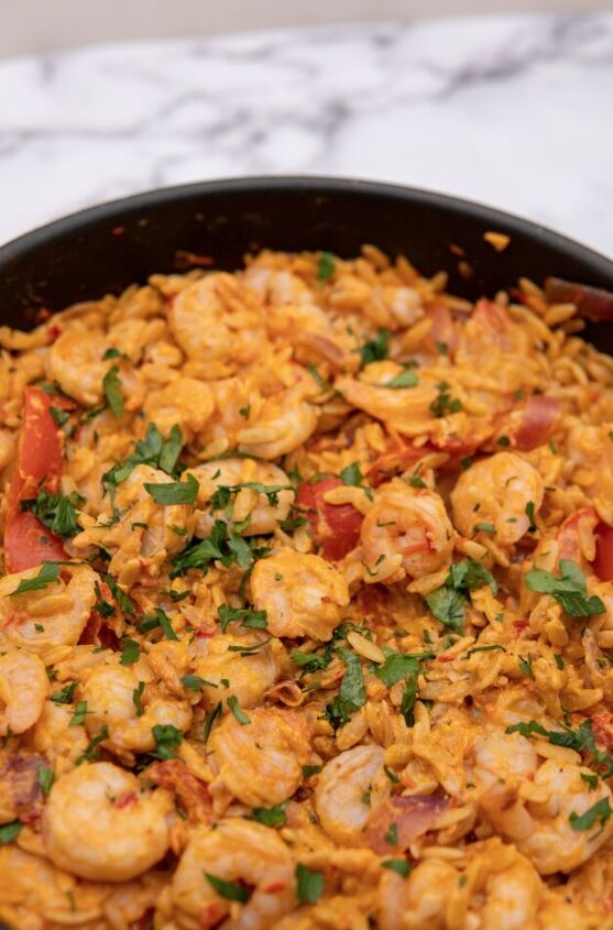 one pot shrimp orzo with harissa and tahini