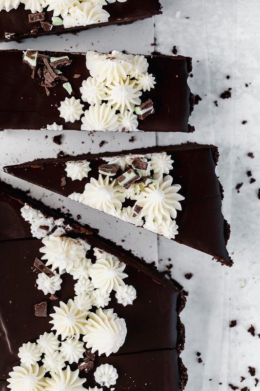dark chocolate mint tart