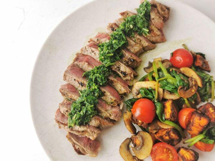 chimmichurri steak with a warm sweet potato salad