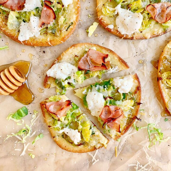 brussels sprouts and burrata naan pizza