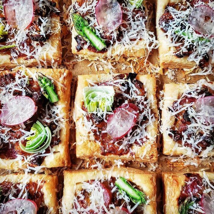roasted grape leek and asparagus tarts