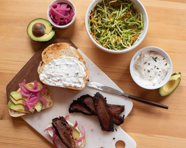 brisket sandwiches w pickled red onions avocado garlic herb mayo