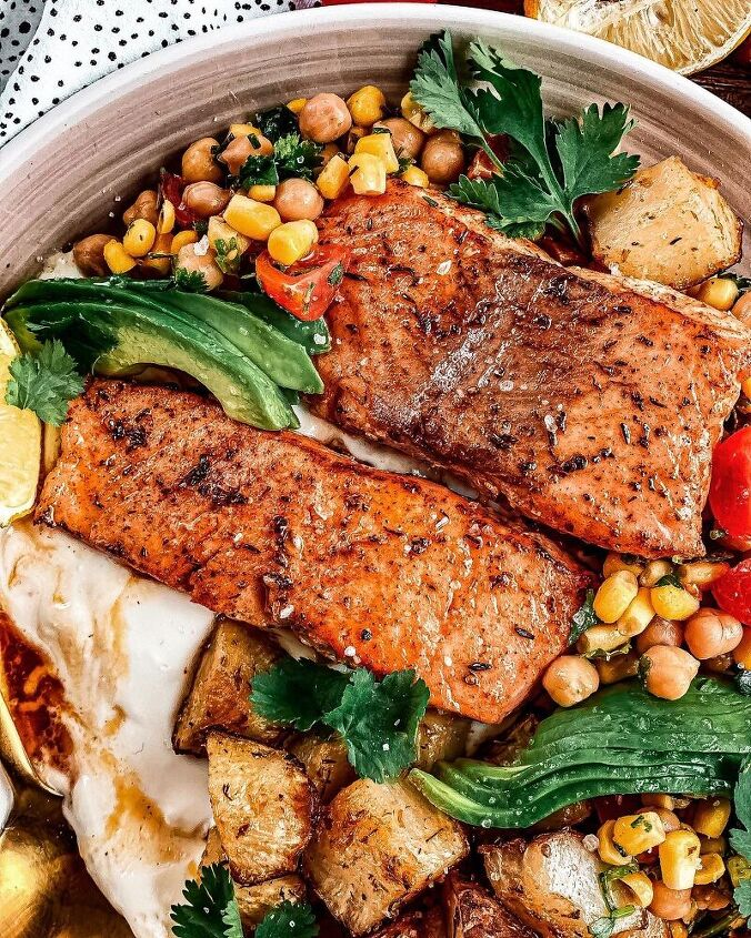 salmon with jerusalem artichokes whipped goat cheese chickpea salad