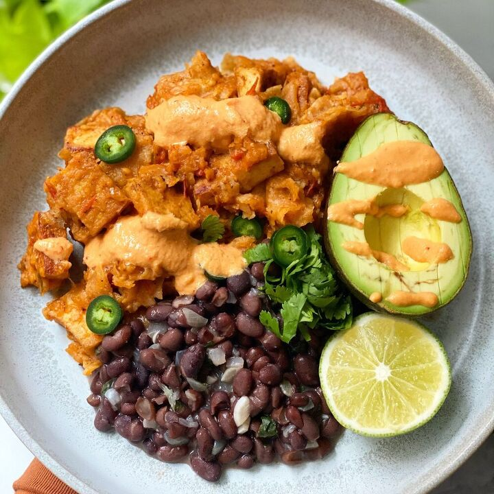 vegan chilaquiles with chipotle tofu bens and cashew queso