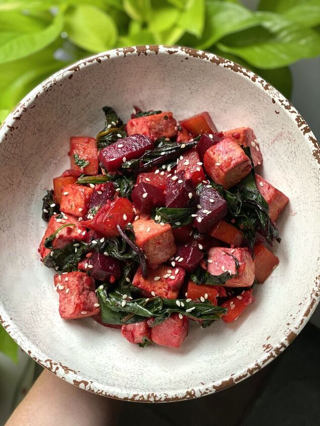 stir fried beets beet greens and tofu