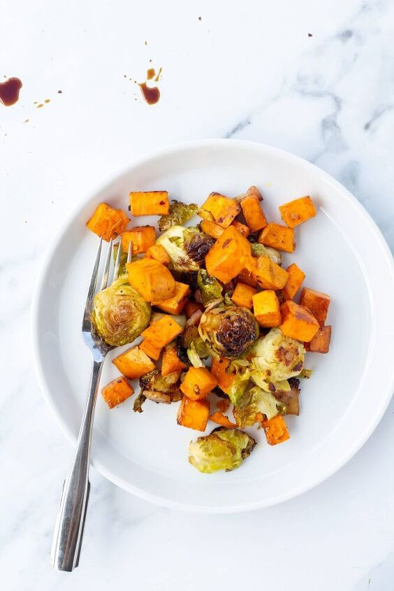 simple roasted brussel sprouts and sweet potatoes with bacon