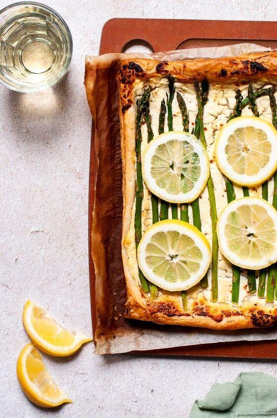 easy lemon asparagus and whipped goat cheese tart