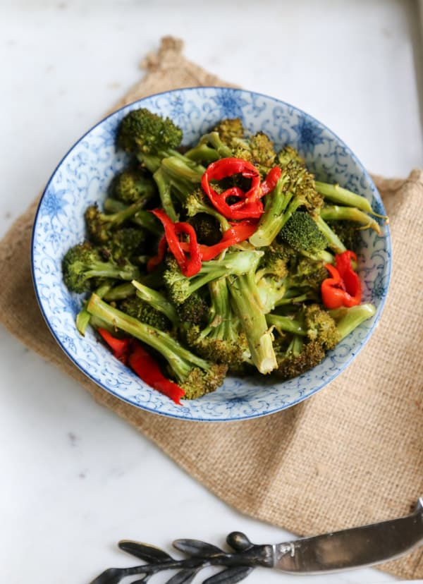 roasted broccoli florets with lemon and butter