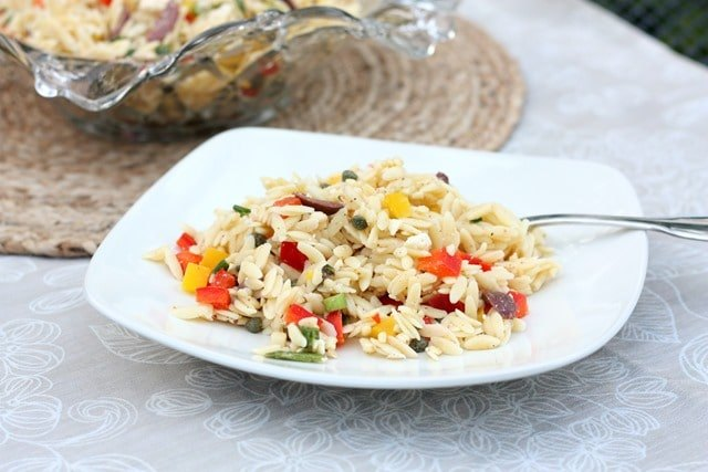 orzo salad with feta olives and peppers